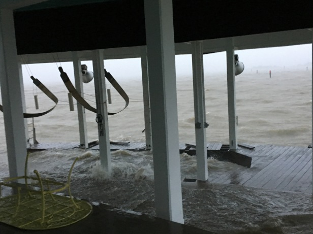 Hurricane Harvey had started up and was taking some of our dock
