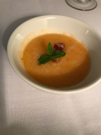 The chilled cantaloupe soup - very refreshing!