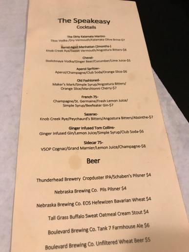 Great drink menu