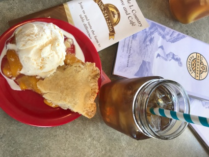 Homemade peach pie, ice cream, and iced tea - perfect afternoon snack!