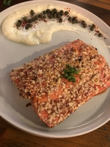Almond-crusted sockeye salmon