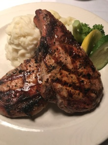 Really scrumptious pork chops, but I could only eat one! Served with garlic mashed potatoes and veggies