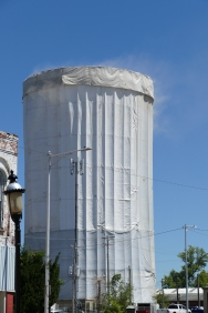 We stopped to see this, which we determined is a water tower being painted