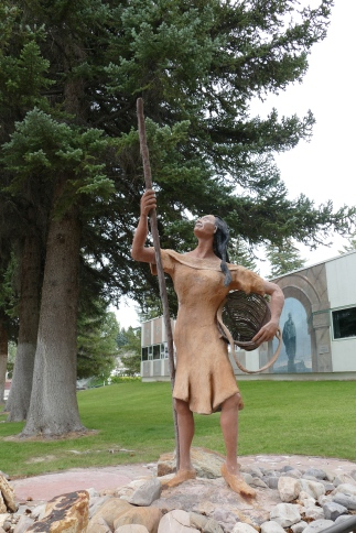 'Shoshone Woman Gathering Pinenuts', created in 2002 by sculptor Joe Pachak