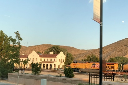 The little town of Caliente had a cool depot and a train roared past as we were there.