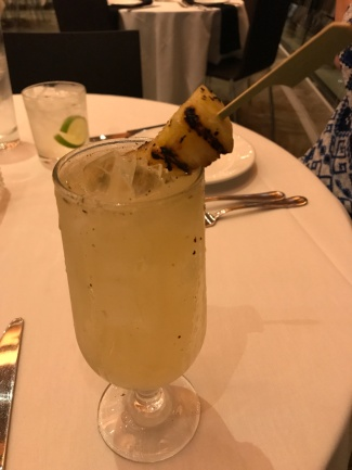 This twist on a margarita was delicious - grilled pineapple and some jalapeno