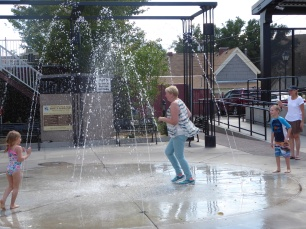 Running through the fountain